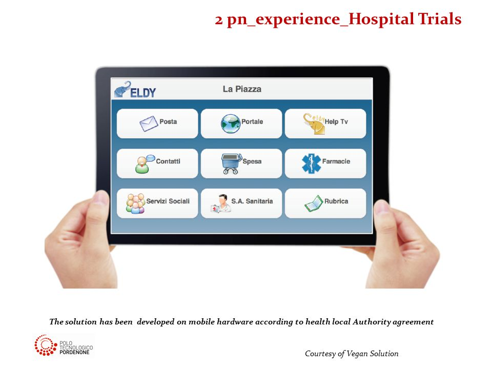 Courtesy of Vegan Solution The solution has been developed on mobile hardware according to health local Authority agreement 2 pn_experience_Hospital Trials
