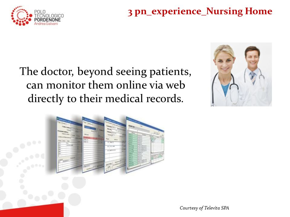 The doctor, beyond seeing patients, can monitor them online via web directly to their medical records.