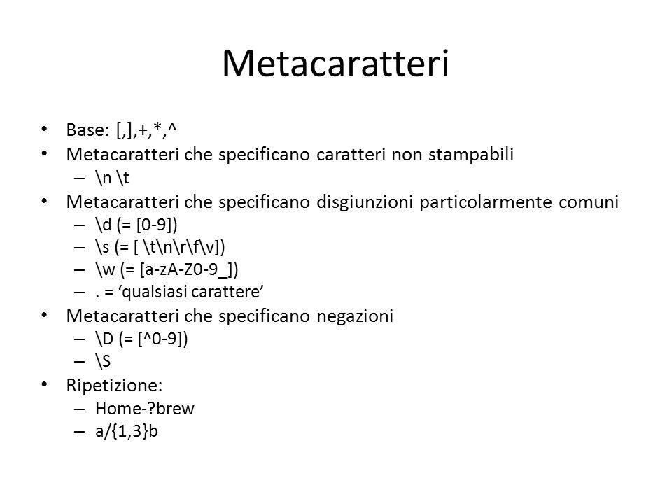 Metacaratteri Base: [,],+,*,^ Metacaratteri che specificano caratteri non stampabili – \n \t Metacaratteri che specificano disgiunzioni particolarment