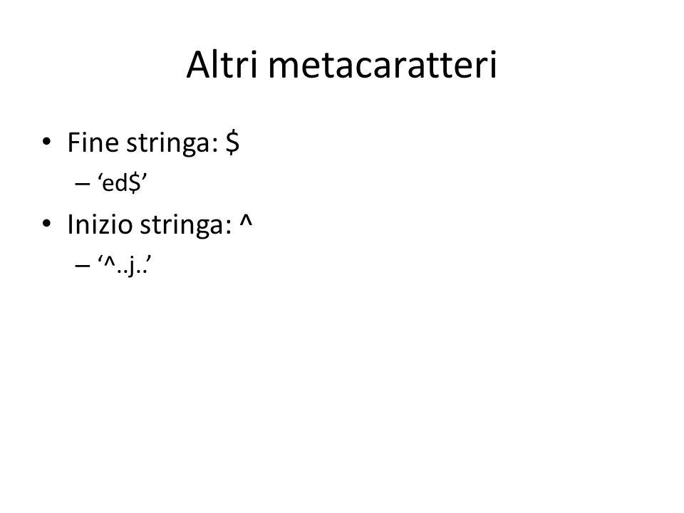 Altri metacaratteri Fine stringa: $ – 'ed$' Inizio stringa: ^ – '^..j..'