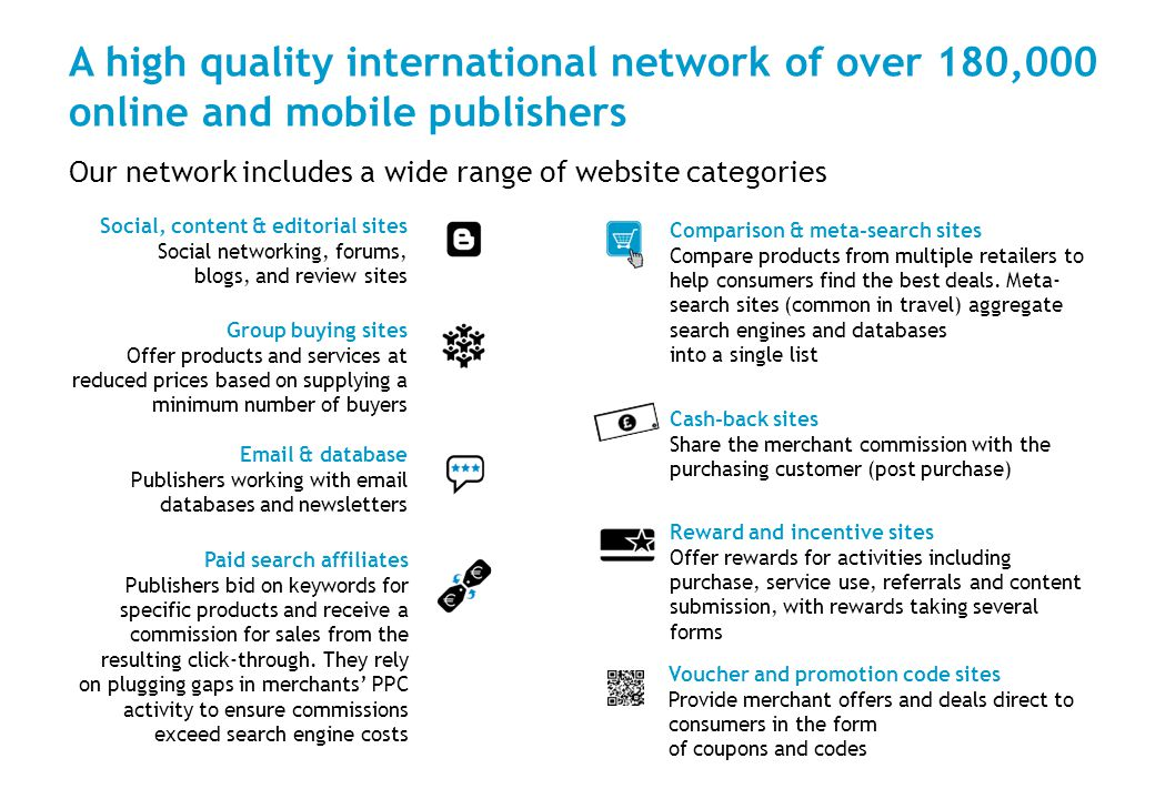 A high quality international network of over 180,000 online and mobile publishers Cash-back sites Share the merchant commission with the purchasing customer (post purchase) Voucher and promotion code sites Provide merchant offers and deals direct to consumers in the form of coupons and codes Reward and incentive sites Offer rewards for activities including purchase, service use, referrals and content submission, with rewards taking several forms Comparison & meta-search sites Compare products from multiple retailers to help consumers find the best deals.