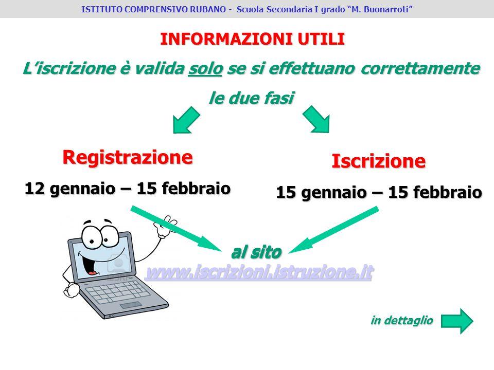INFORMAZIONI UTILI L'iscrizione è valida solo se si effettuano correttamente le due fasi Registrazione 12 gennaio – 15 febbraio Iscrizione 15 gennaio
