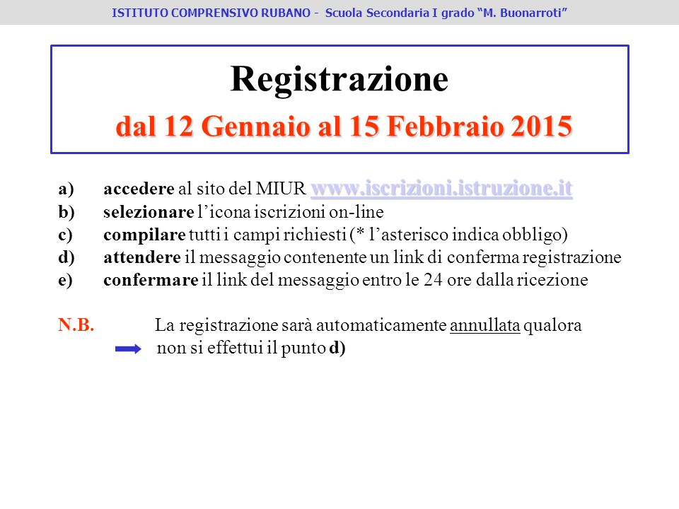dal 12 Gennaio al 15 Febbraio 2015 Registrazione dal 12 Gennaio al 15 Febbraio 2015 www.iscrizioni.istruzione.it www.iscrizioni.istruzione.it a)accede