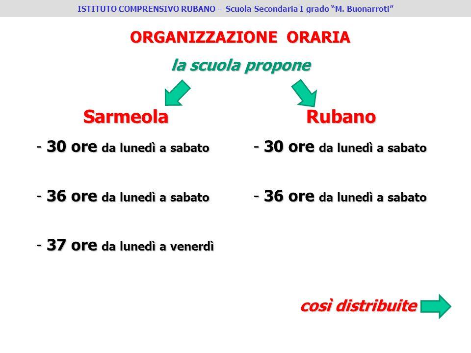 ORGANIZZAZIONE ORARIA la scuola propone Sarmeola - 30 ore da lunedì a sabato - 36 ore da lunedì a sabato - 37 ore da lunedì a venerdì Rubano - 30 ore