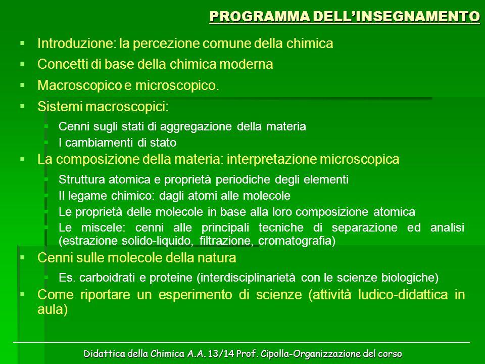 Didattica della Chimica A.A. 13/14 Prof. Cipolla-Organizzazione del corso PROGRAMMA DELL'INSEGNAMENTO   Introduzione: la percezione comune della chi
