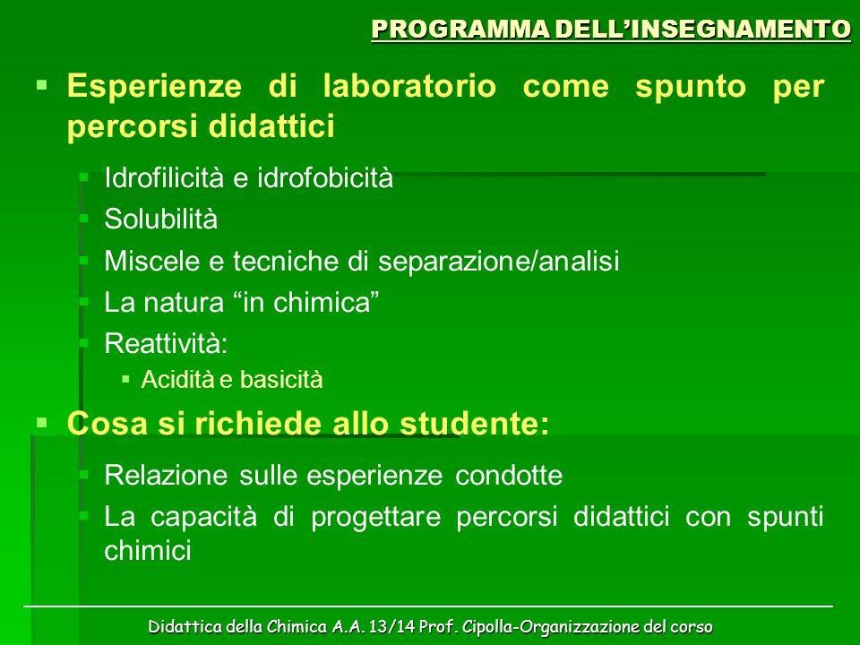 Didattica della Chimica A.A. 13/14 Prof. Cipolla-Organizzazione del corso PROGRAMMA DELL'INSEGNAMENTO   Esperienze di laboratorio come spunto per pe