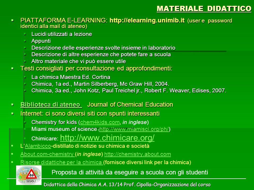 Didattica della Chimica A.A. 13/14 Prof. Cipolla-Organizzazione del corso MATERIALE DIDATTICO  PIATTAFORMA E-LEARNING: http://elearning.unimib.it (us