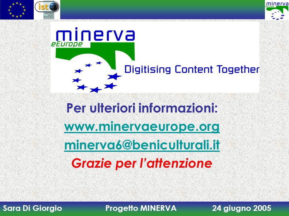 Sara Di Giorgio Progetto MINERVA 24 giugno 2005 Per ulteriori informazioni: www.minervaeurope.org minerva6@beniculturali.it Grazie per l'attenzione