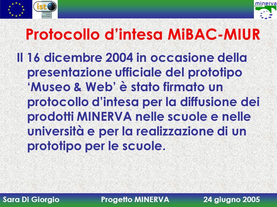 Sara Di Giorgio Progetto MINERVA 24 giugno 2005 Protocollo d'intesa MiBAC-MIUR Il 16 dicembre 2004 in occasione della presentazione ufficiale del prototipo 'Museo & Web' è stato firmato un protocollo d'intesa per la diffusione dei prodotti MINERVA nelle scuole e nelle università e per la realizzazione di un prototipo per le scuole.