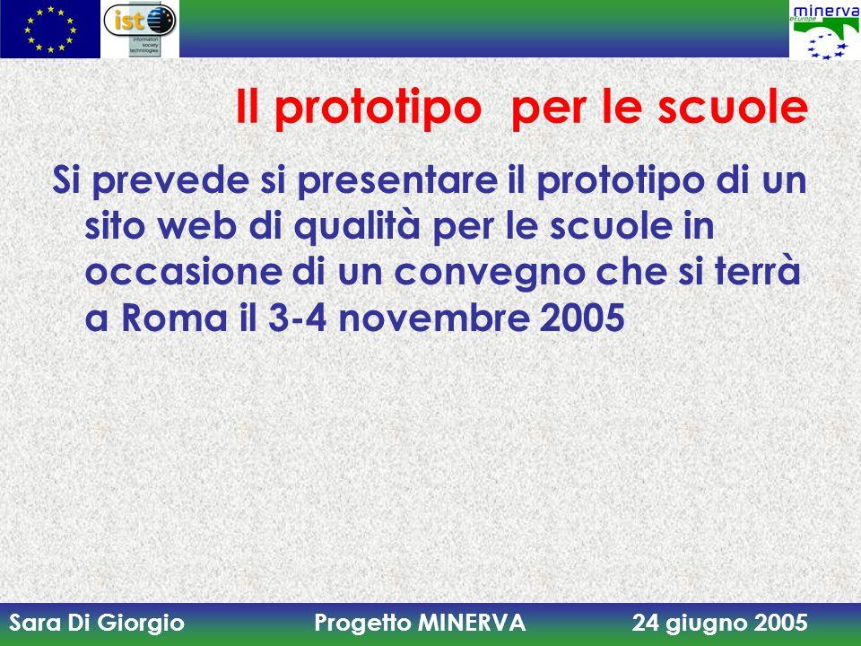 Sara Di Giorgio Progetto MINERVA 24 giugno 2005 Il prototipo per le scuole Si prevede si presentare il prototipo di un sito web di qualità per le scuole in occasione di un convegno che si terrà a Roma il 3-4 novembre 2005