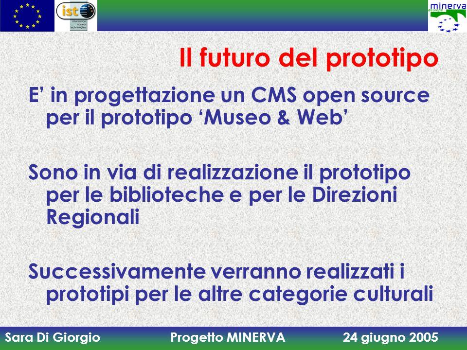 Sara Di Giorgio Progetto MINERVA 24 giugno 2005 Il futuro del prototipo E' in progettazione un CMS open source per il prototipo 'Museo & Web' Sono in via di realizzazione il prototipo per le biblioteche e per le Direzioni Regionali Successivamente verranno realizzati i prototipi per le altre categorie culturali