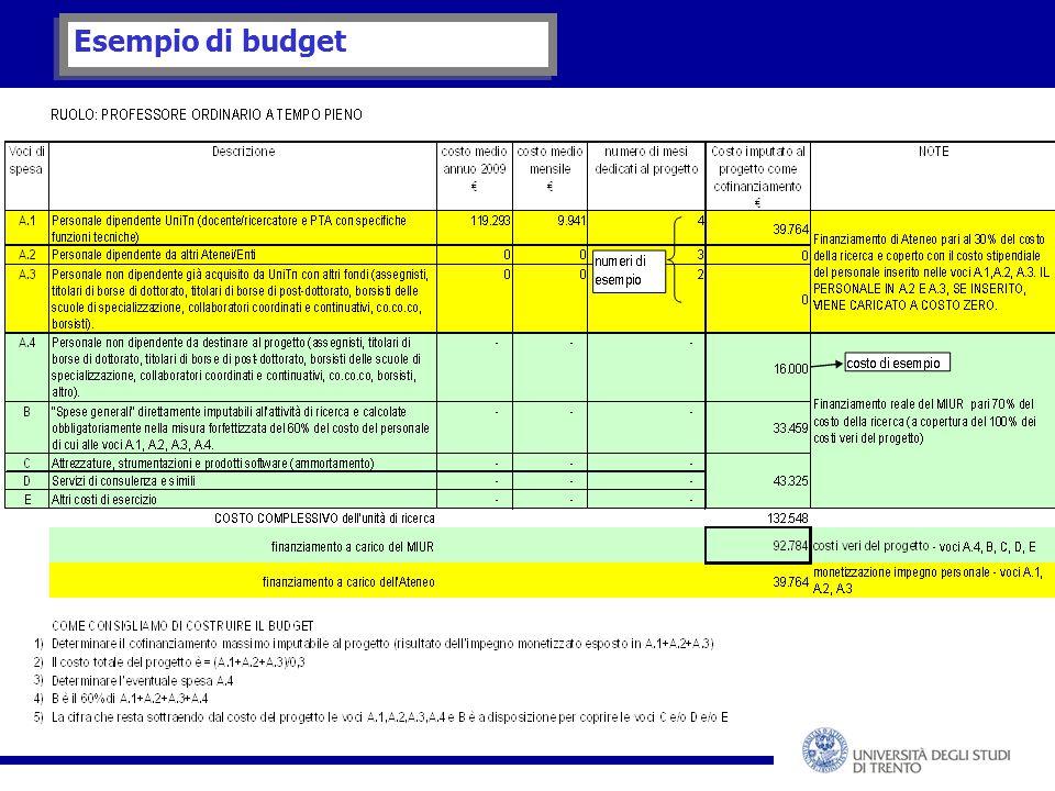 Esempio di budget
