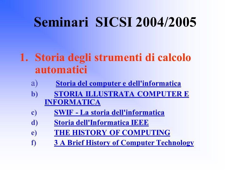 Seminari SICSI 2004/2005 1.Storia degli strumenti di calcolo automatici a) Storia del computer e dell informatica Storia del computer e dell informatica b) STORIA ILLUSTRATA COMPUTER E INFORMATICASTORIA ILLUSTRATA COMPUTER E INFORMATICA c) SWIF - La storia dell informaticaSWIF - La storia dell informatica d) Storia dell Informatica IEEEStoria dell Informatica IEEE e) THE HISTORY OF COMPUTINGTHE HISTORY OF COMPUTING f) 3 A Brief History of Computer Technology3 A Brief History of Computer Technology