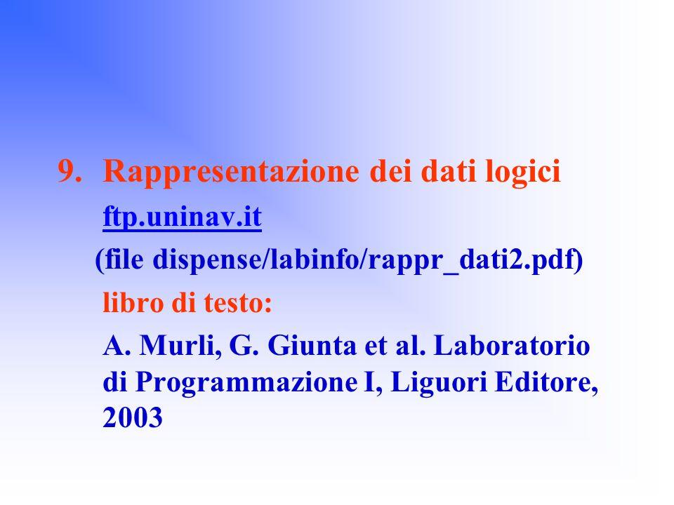 9.Rappresentazione dei dati logici ftp.uninav.it (file dispense/labinfo/rappr_dati2.pdf) libro di testo: A.