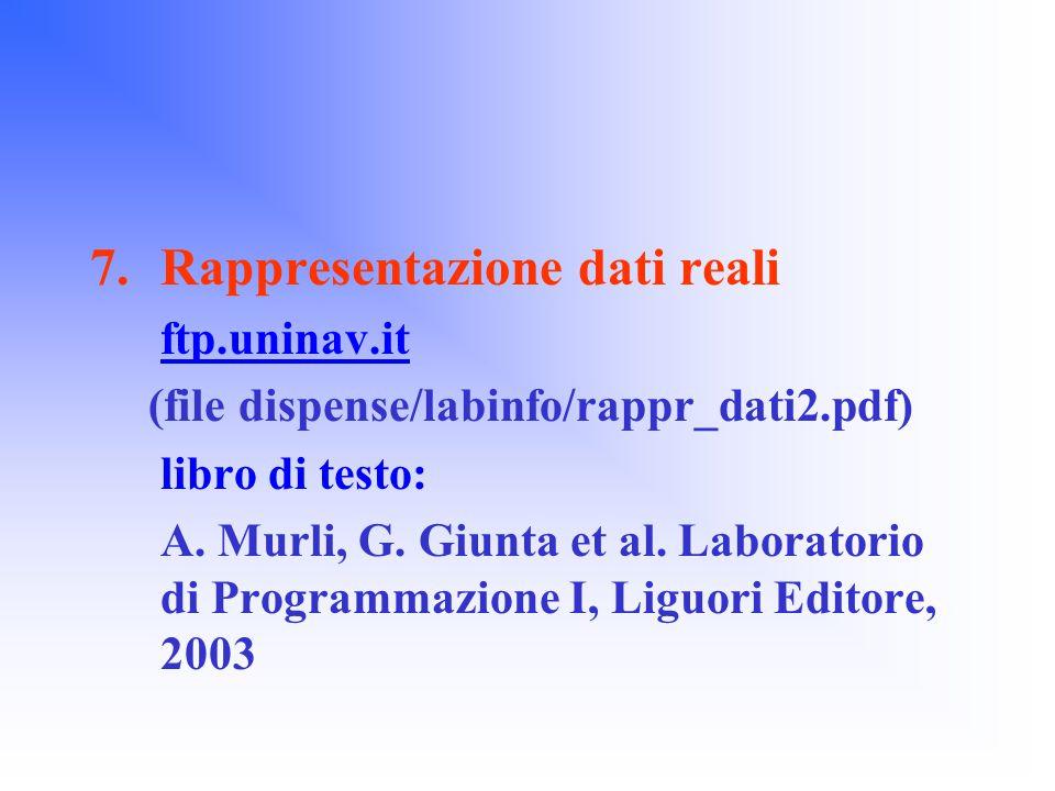 7.Rappresentazione dati reali ftp.uninav.it (file dispense/labinfo/rappr_dati2.pdf) libro di testo: A.