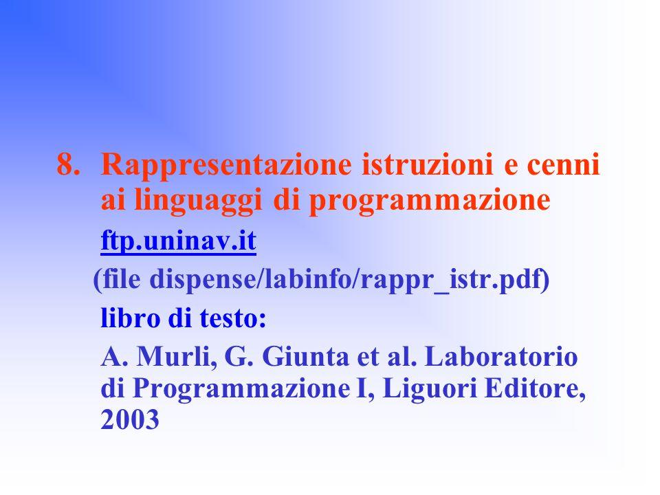 8.Rappresentazione istruzioni e cenni ai linguaggi di programmazione ftp.uninav.it (file dispense/labinfo/rappr_istr.pdf) libro di testo: A.