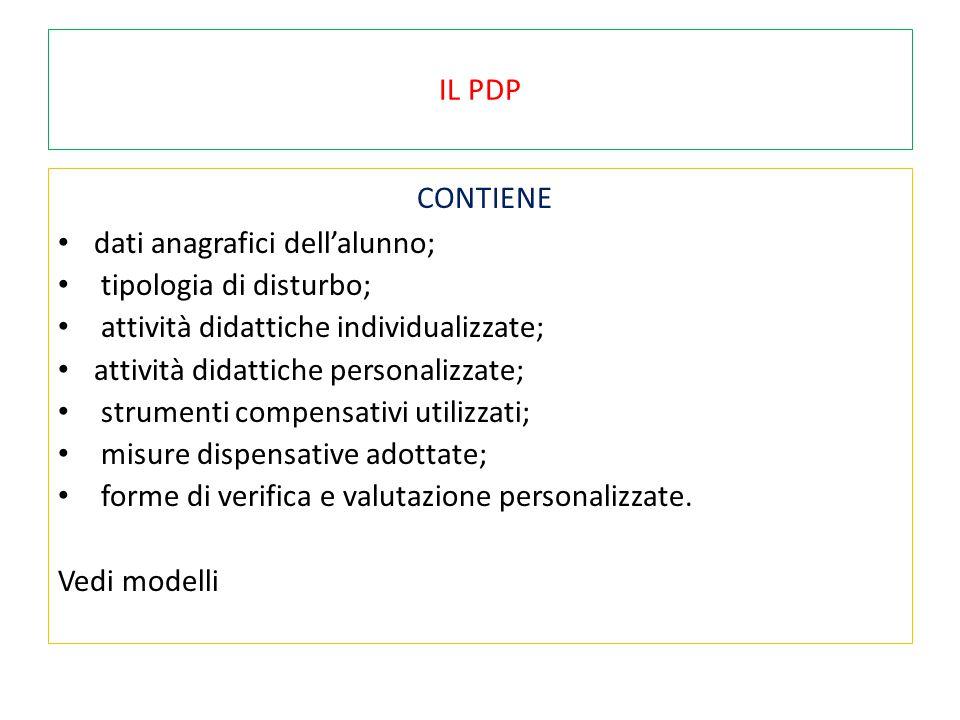IL PDP CONTIENE dati anagrafici dell'alunno; tipologia di disturbo; attività didattiche individualizzate; attività didattiche personalizzate; strument