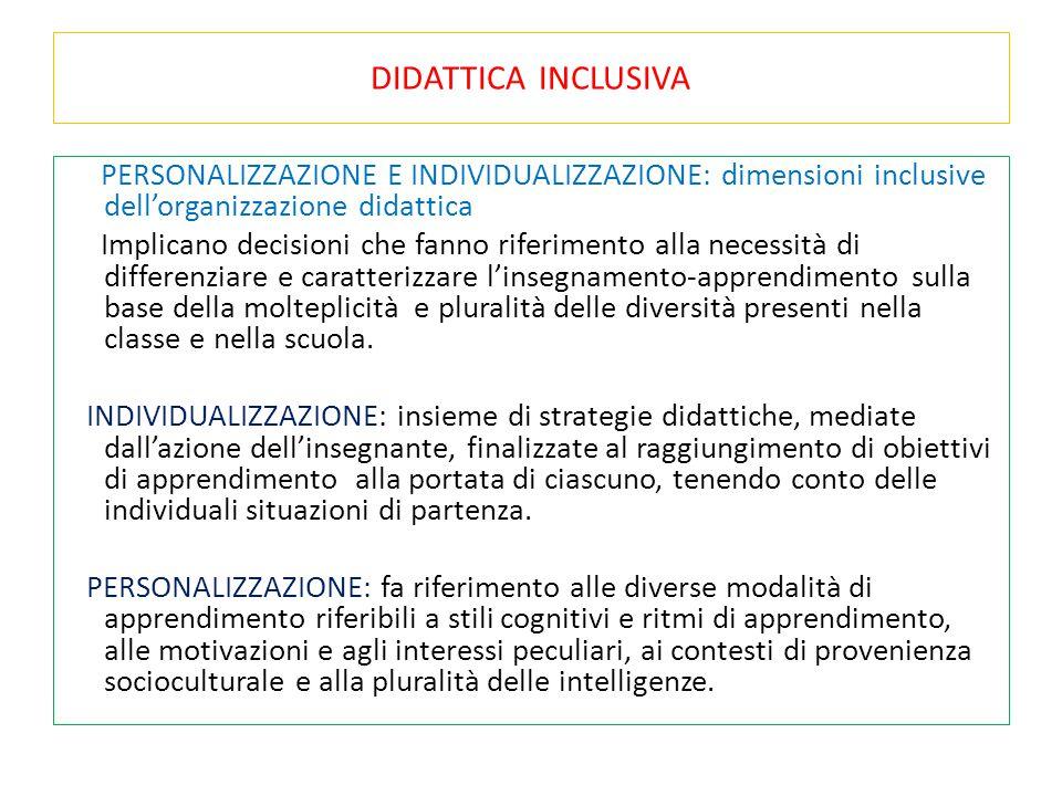DIDATTICA INCLUSIVA PERSONALIZZAZIONE E INDIVIDUALIZZAZIONE: dimensioni inclusive dell'organizzazione didattica Implicano decisioni che fanno riferime