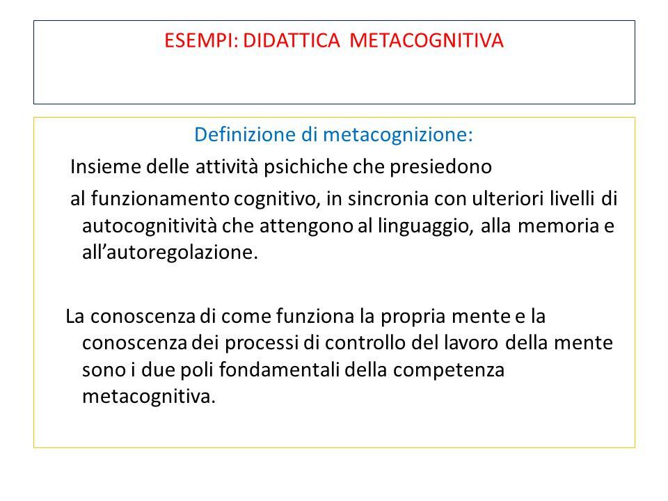 ESEMPI: DIDATTICA METACOGNITIVA Definizione di metacognizione: Insieme delle attività psichiche che presiedono al funzionamento cognitivo, in sincroni