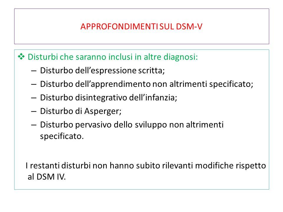 APPROFONDIMENTI SUL DSM-V  Disturbi che saranno inclusi in altre diagnosi: – Disturbo dell'espressione scritta; – Disturbo dell'apprendimento non alt