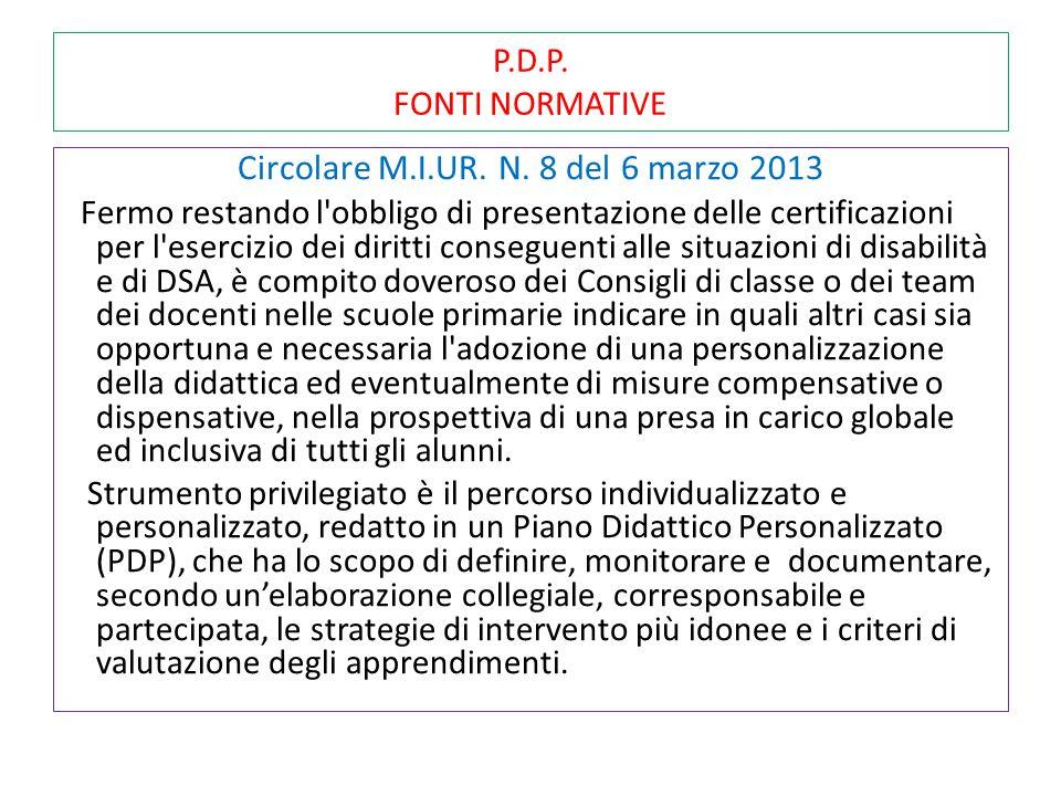 P.D.P. FONTI NORMATIVE Circolare M.I.UR. N. 8 del 6 marzo 2013 Fermo restando l'obbligo di presentazione delle certificazioni per l'esercizio dei diri