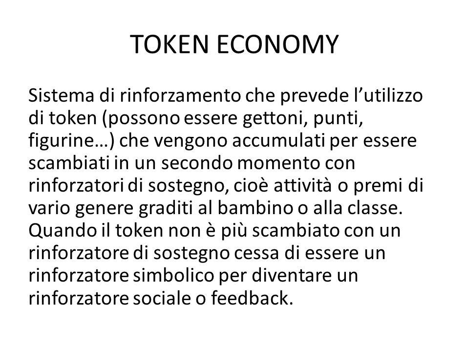 TOKEN ECONOMY Sistema di rinforzamento che prevede l'utilizzo di token (possono essere gettoni, punti, figurine…) che vengono accumulati per essere sc
