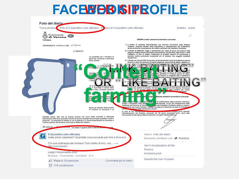WEB SITEFACEBOOK PROFILE Content farming