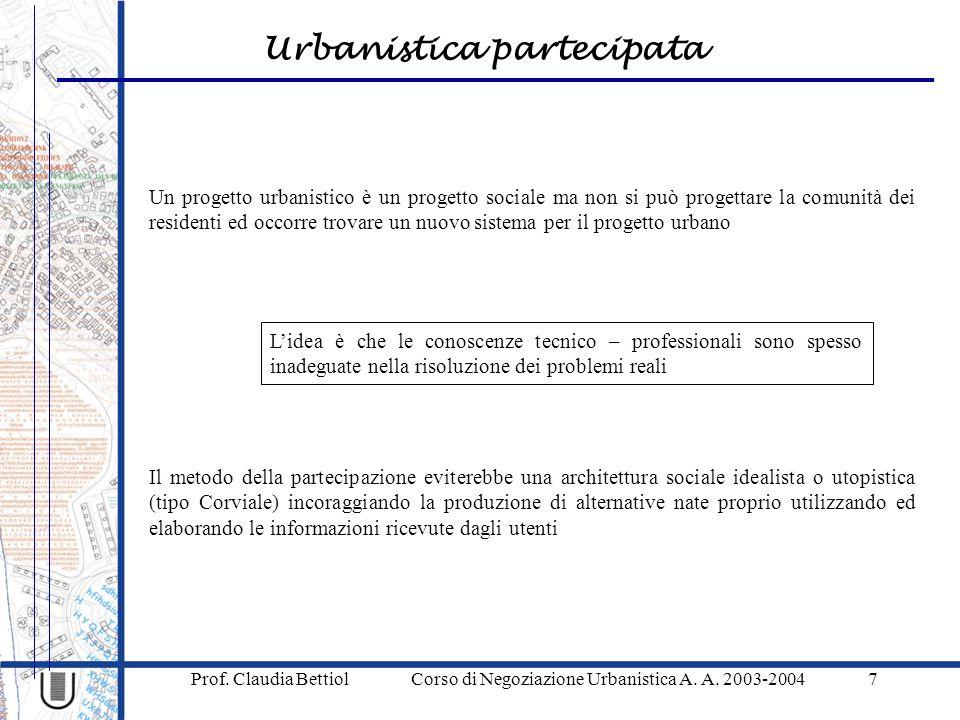 Urbanistica partecipata Prof.Claudia Bettiol Corso di Negoziazione Urbanistica A.