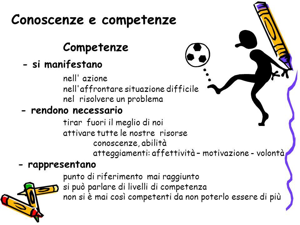 Conoscenze e competenze Competenze - si manifestano nell' azione nell'affrontare situazione difficile nel risolvere un problema - rendono necessario t