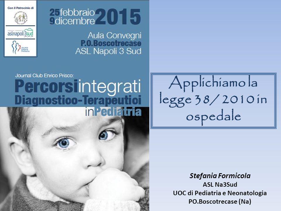 Applichiamo la legge 38/ 2010 in ospedale Stefania Formicola ASL Na3Sud UOC di Pediatria e Neonatologia PO.Boscotrecase (Na)