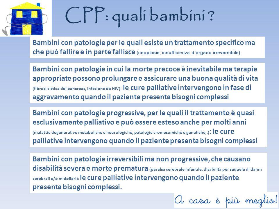 CPP: quali bambini ? Bambini con patologie irreversibili ma non progressive, che causano disabilità severa e morte prematura (paralisi cerebrale infan
