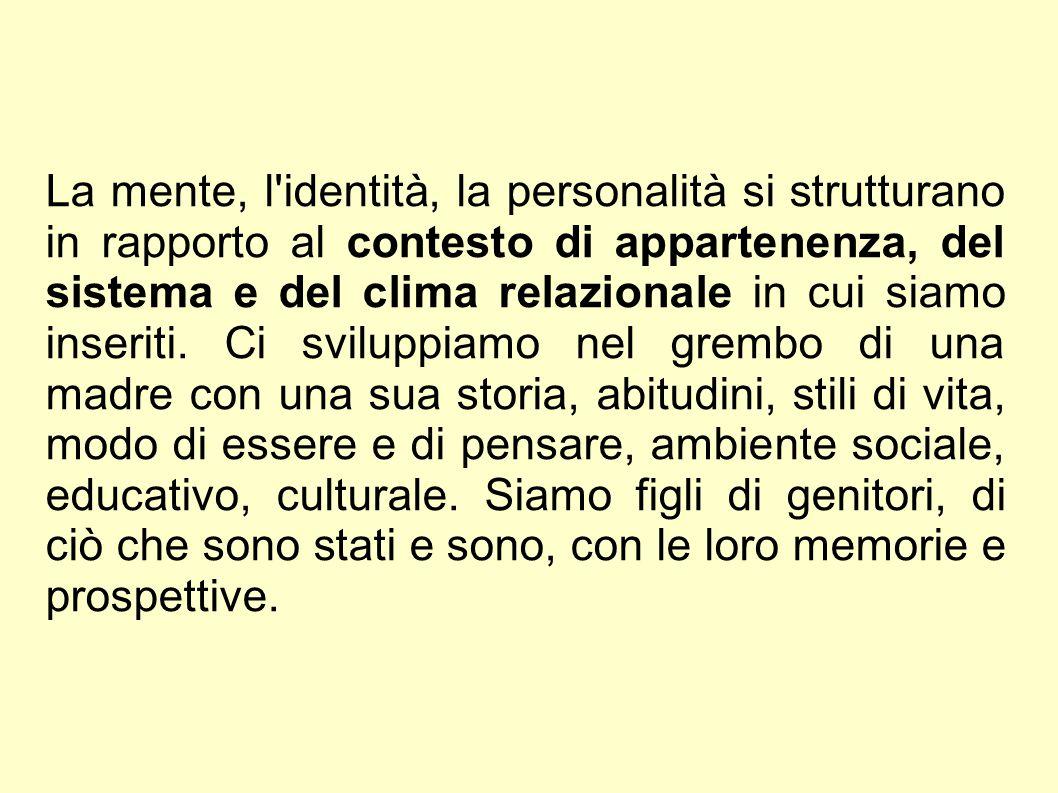 La mente, l'identità, la personalità si strutturano in rapporto al contesto di appartenenza, del sistema e del clima relazionale in cui siamo inseriti