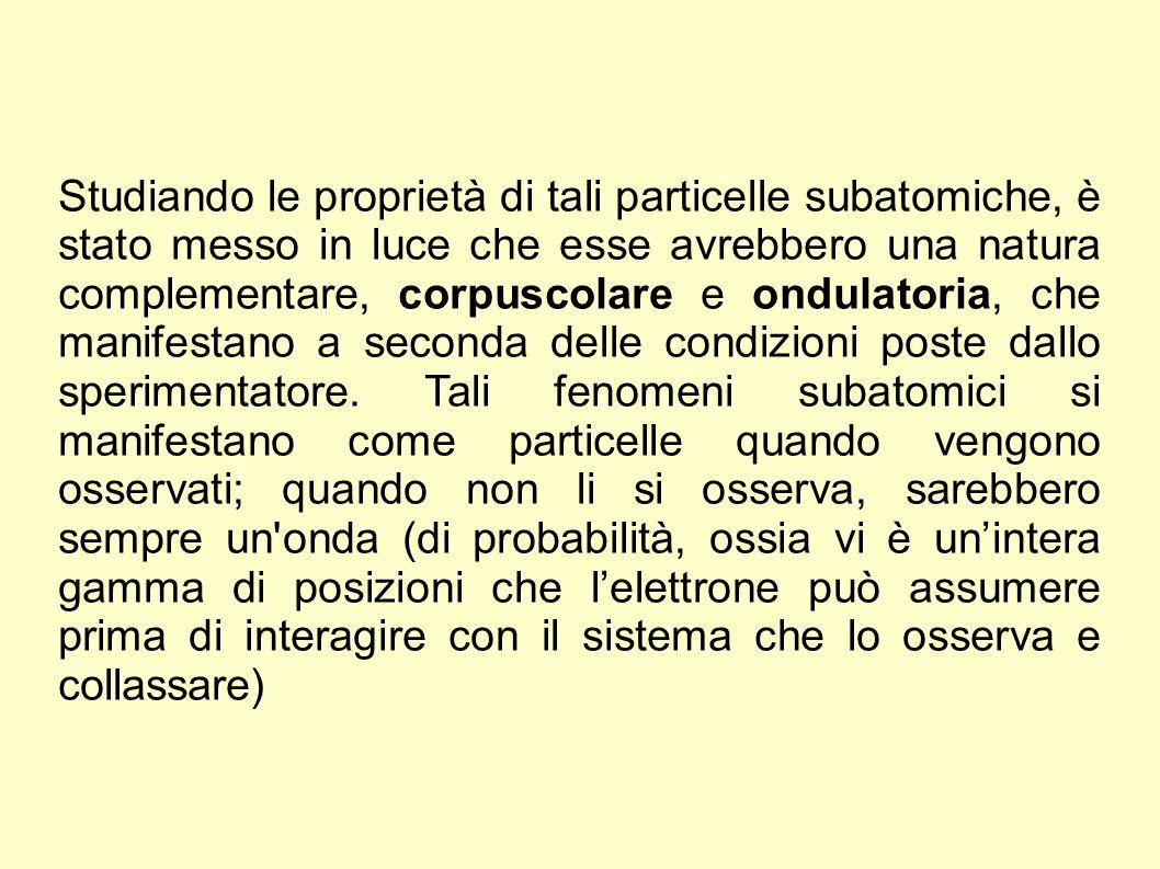 Studiando le proprietà di tali particelle subatomiche, è stato messo in luce che esse avrebbero una natura complementare, corpuscolare e ondulatoria,