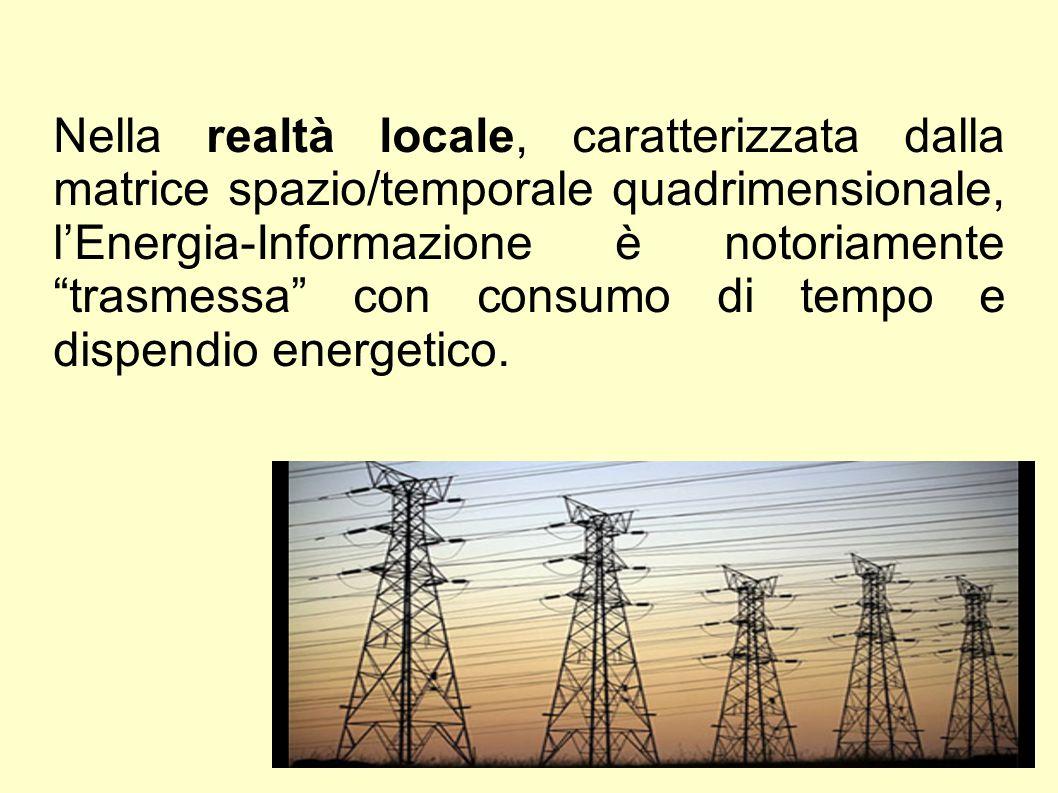 """Nella realtà locale, caratterizzata dalla matrice spazio/temporale quadrimensionale, l'Energia-Informazione è notoriamente """"trasmessa"""" con consumo di"""