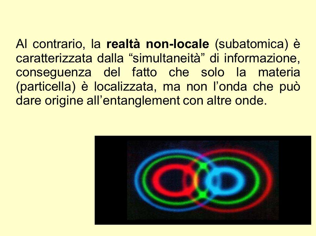 """Al contrario, la realtà non-locale (subatomica) è caratterizzata dalla """"simultaneità"""" di informazione, conseguenza del fatto che solo la materia (part"""