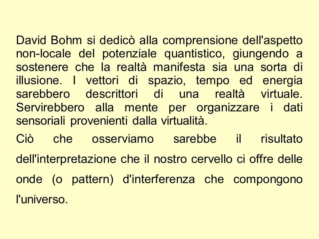 David Bohm si dedicò alla comprensione dell'aspetto non-locale del potenziale quantistico, giungendo a sostenere che la realtà manifesta sia una sorta