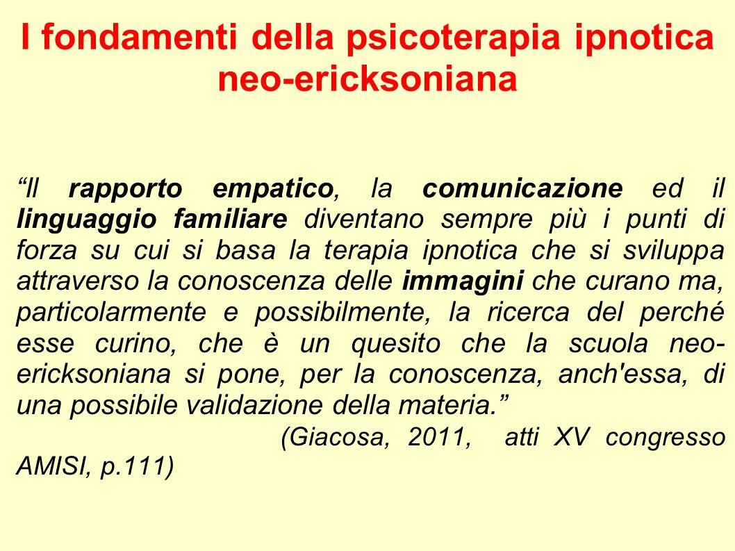 """I fondamenti della psicoterapia ipnotica neo-ericksoniana """"Il rapporto empatico, la comunicazione ed il linguaggio familiare diventano sempre più i pu"""