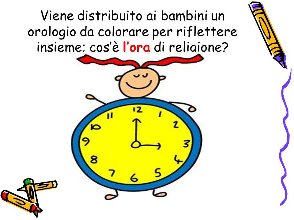 Viene distribuito ai bambini un orologio da colorare per riflettere insieme; cos'è l'ora di religione?