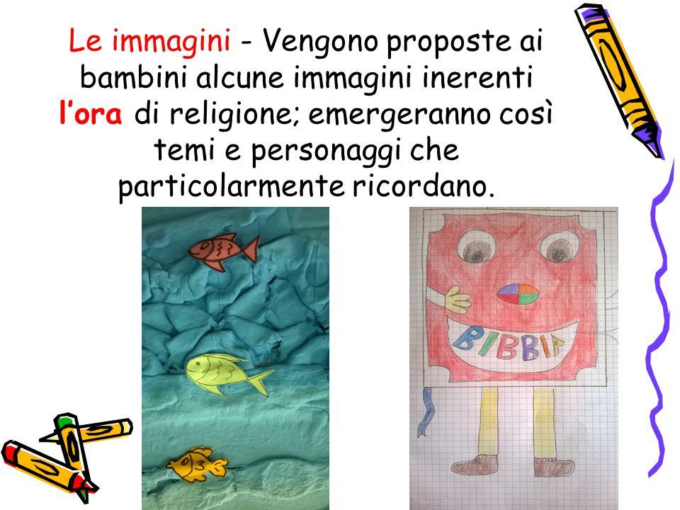 Le immagini - Vengono proposte ai bambini alcune immagini inerenti l'ora di religione; emergeranno così temi e personaggi che particolarmente ricordano.