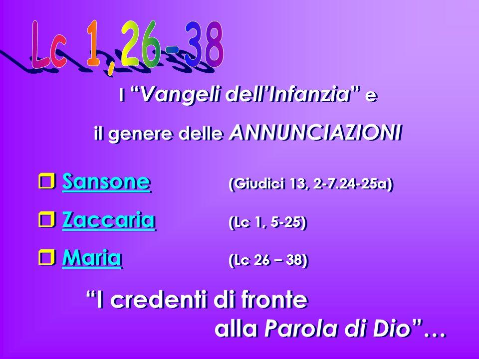"""I """" Vangeli dell'Infanzia """" e il genere delle ANNUNCIAZIONI  Sansone (Giudici 13, 2-7.24-25a)  Zaccaria (Lc 1, 5-25)  Maria (Lc 26 – 38) """"I credent"""