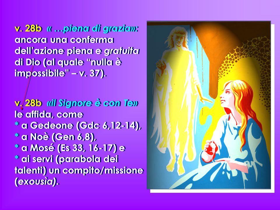 """v. 28b « …piena di grazia»: ancora una conferma dell'azione piena e gratuita di Dio (al quale """"nulla è impossibile"""" – v. 37). v. 28b «il Signore è con"""