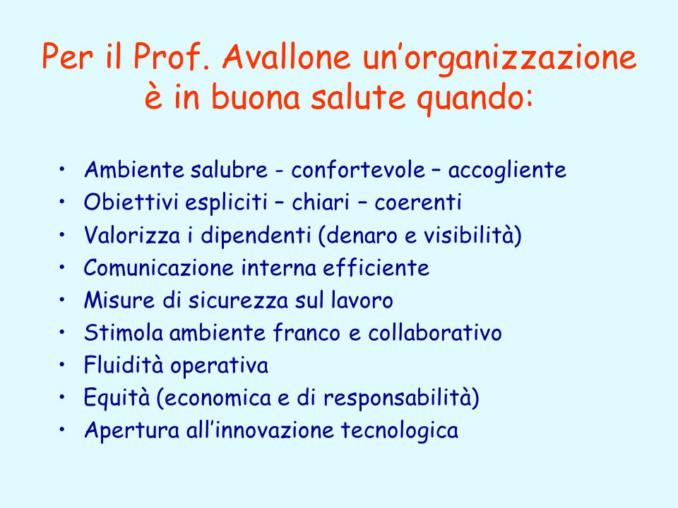 Quale strumento per rilevare il livello di benessere organizzativo? Cantieri del DFP e Prof. Avallone (Università La Sapienza di Roma, Facoltà di Psic