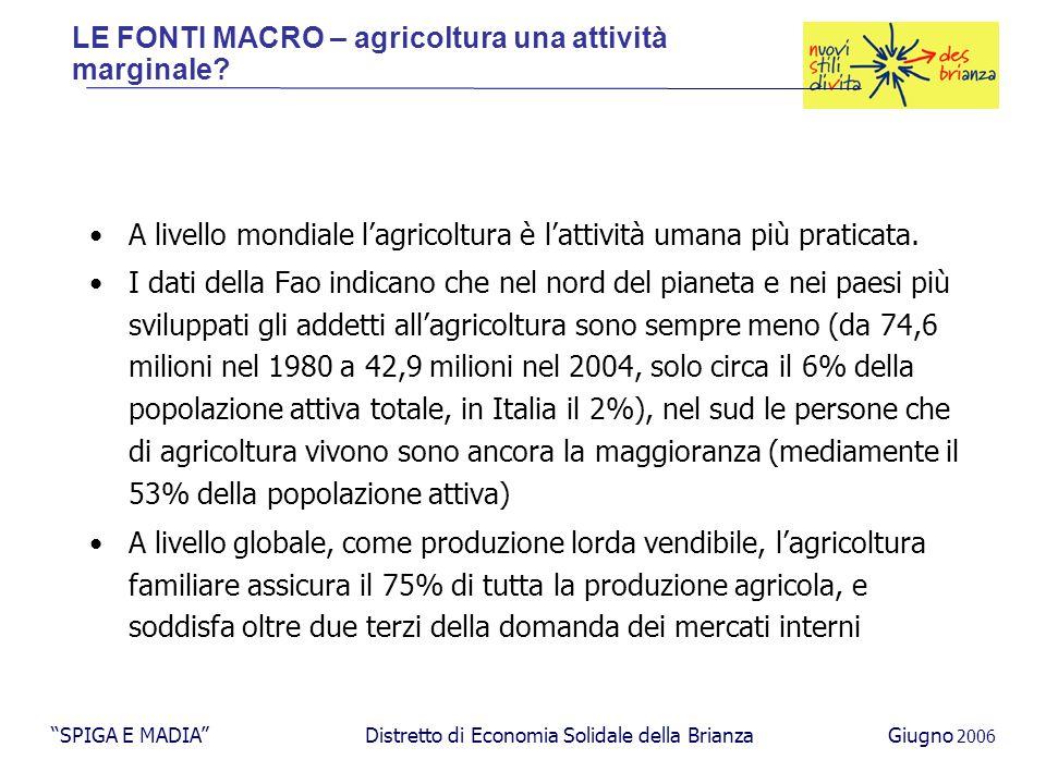 A livello mondiale l'agricoltura è l'attività umana più praticata.