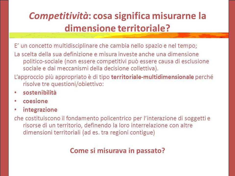 Competitività: cosa significa misurarne la dimensione territoriale.