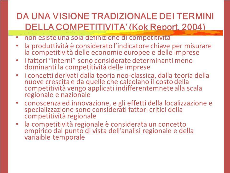DA UNA VISIONE TRADIZIONALE DEI TERMINI DELLA COMPETITIVITA' (Kok Report, 2004) non esiste una sola definizione di competitività la produttività è con