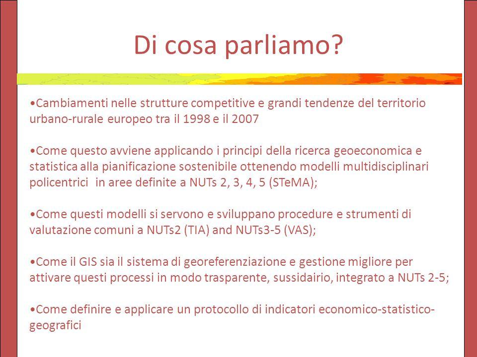 Di cosa parliamo? Cambiamenti nelle strutture competitive e grandi tendenze del territorio urbano-rurale europeo tra il 1998 e il 2007 Come questo avv