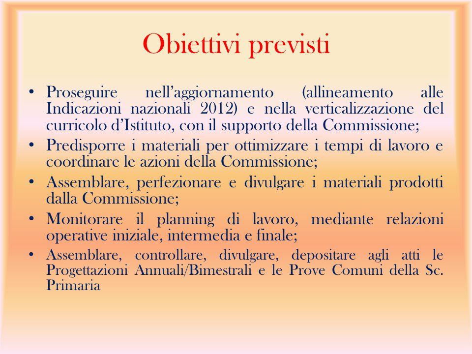 Obiettivi previsti Proseguire nell'aggiornamento (allineamento alle Indicazioni nazionali 2012) e nella verticalizzazione del curricolo d'Istituto, co