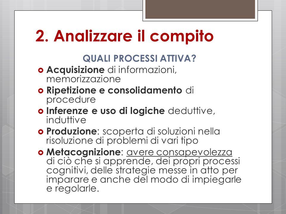 2.Analizzare il compito QUALI PROCESSI ATTIVA.