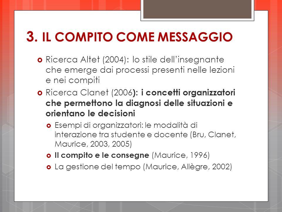3. IL COMPITO COME MESSAGGIO  Ricerca Altet (2004): lo stile dell'insegnante che emerge dai processi presenti nelle lezioni e nei compiti  Ricerca C