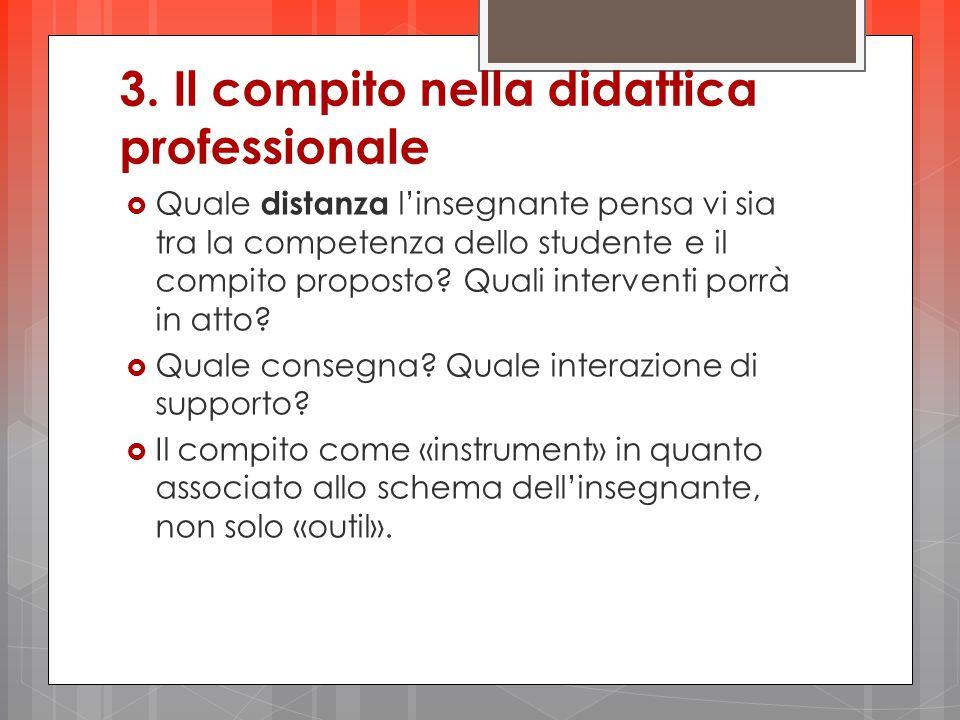 3. Il compito nella didattica professionale  Quale distanza l'insegnante pensa vi sia tra la competenza dello studente e il compito proposto? Quali i